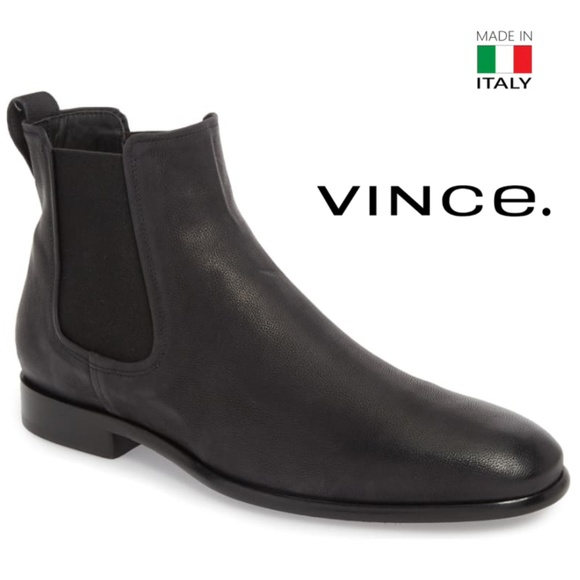 Vince Mens Black Leather Chelsea Boots